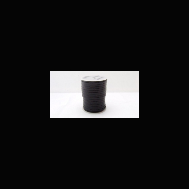 Lædersnøre 3 mm. flad Sort